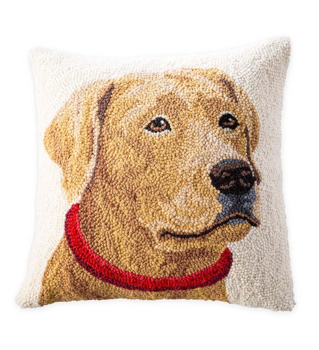 Hand Hooked Wool Labrador Retriever Throw Pillow Black Plowhearth