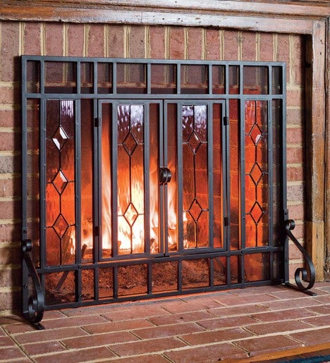 "38""W x 31""H Beveled Glass Diamond Fireplace Screen With Powder-Coated Tubular Steel Frame"