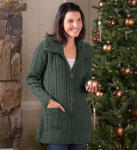 Women's Irish Long Zip-Front Wool Cardigan