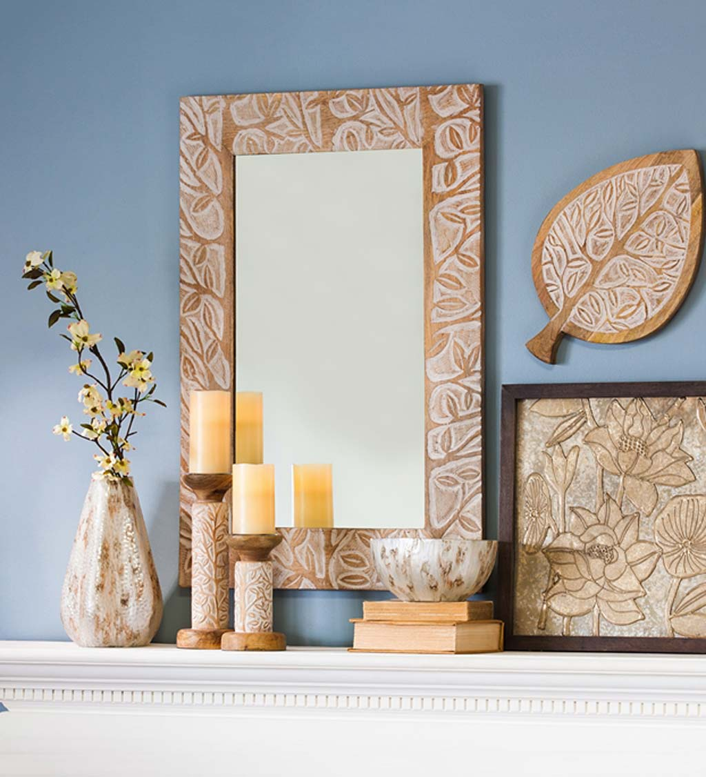Hand Carved Mango Wood Mirror