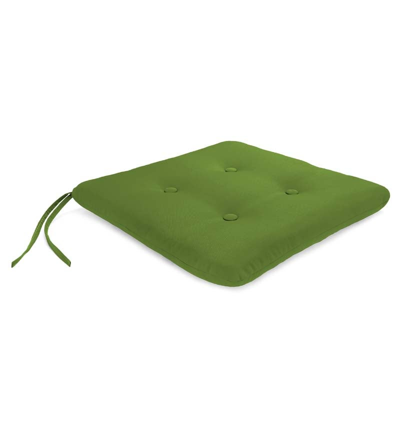 "Sunbrella& Classic Tufted Chair Cushion with Ties, 20¾""x 20¼""x 3"""