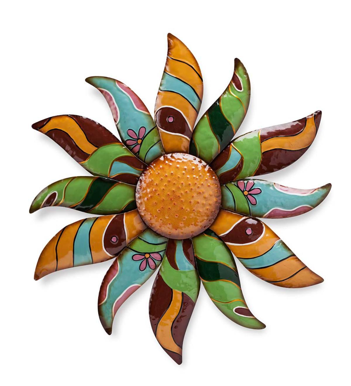 Talavera Painted Metal Flower Wall Art Plowhearth