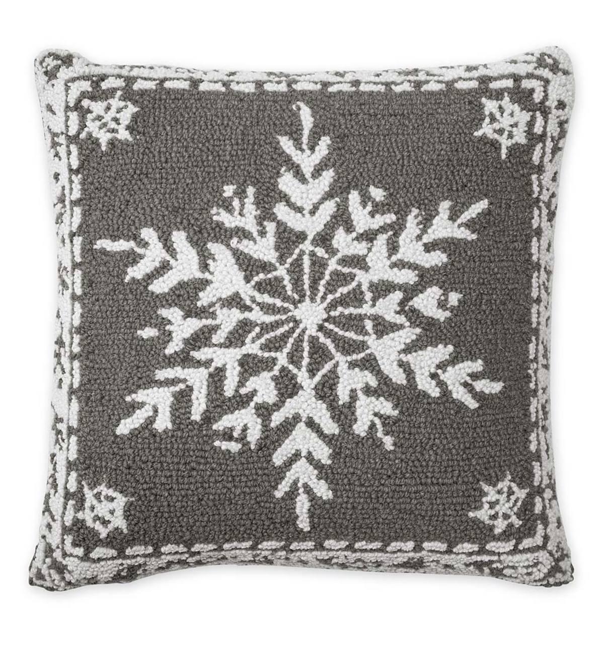 Hand Hooked Wool Holiday Snowflake Throw Pillow Plowhearth