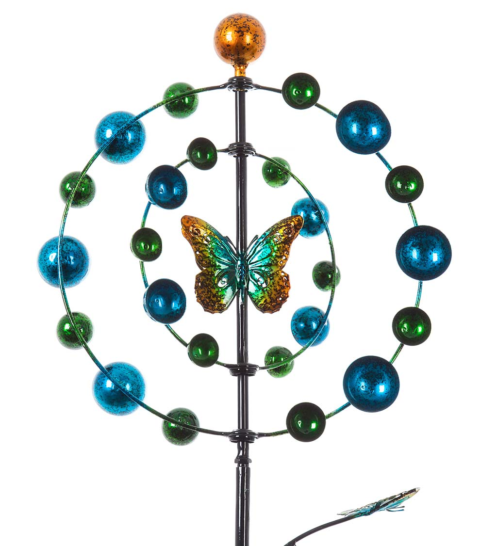 Two Tiered Butterfly Metal Wind Spinner