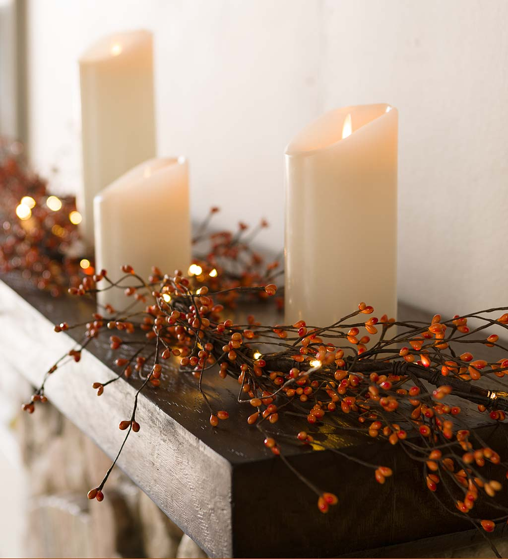 Lighted Autumn Berry Garland Plowhearth