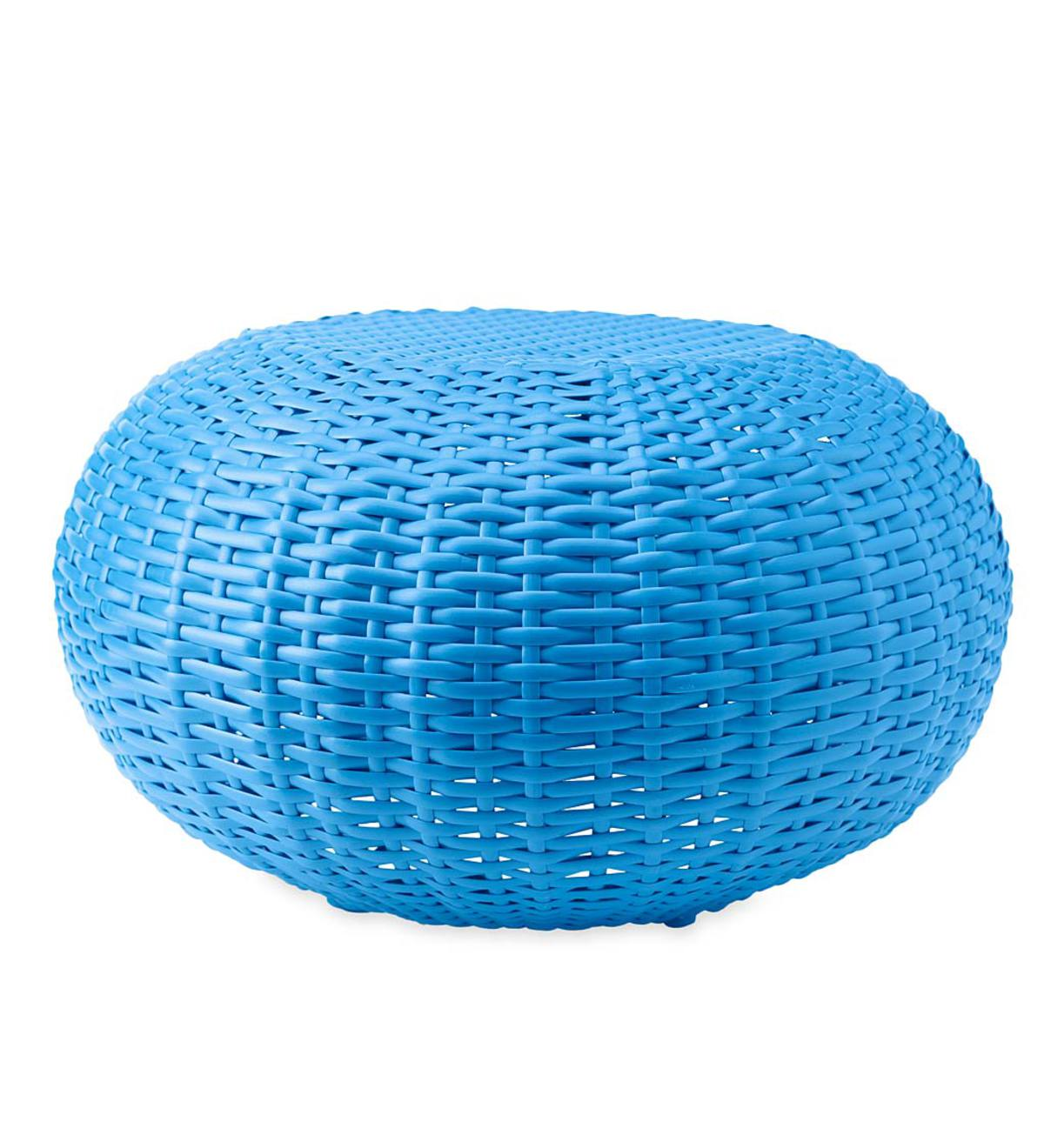Tangier Wicker Ottoman Pouf, Small - Blue