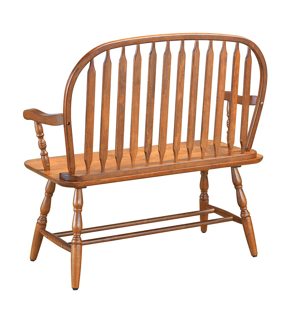 Handcrafted Wood Windsor-Style Bench