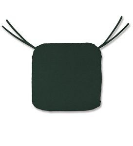 "Polyester Classic Chair Cushion With Ties, 19½""x 19""x 3"" - Forest Green"