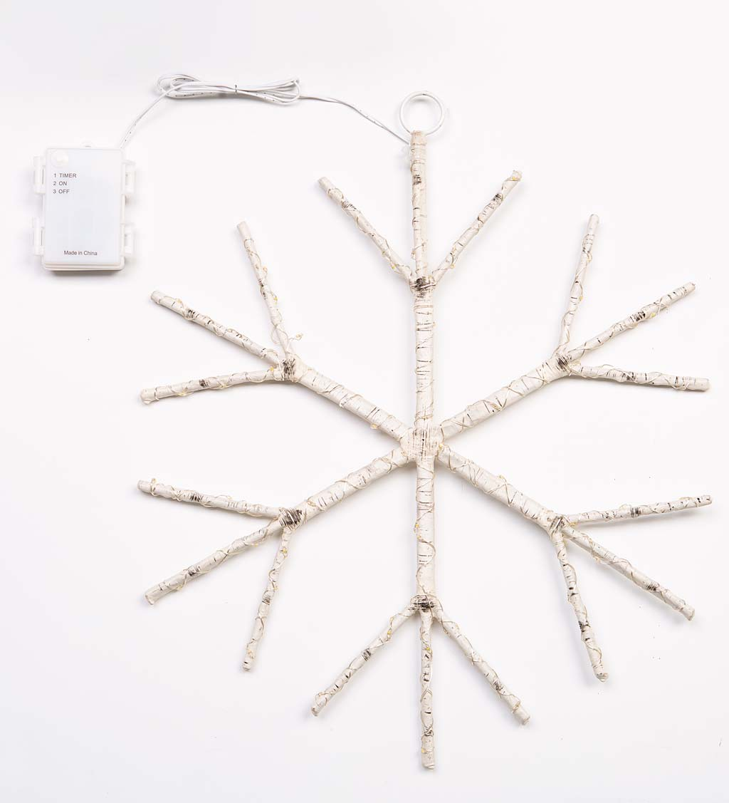 Lighted Birch Branch Snowflake Hanging Accent