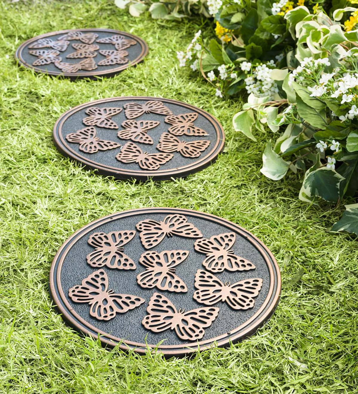 Recycled Rubber Stepping Stones, Set of 3 - Copper Butterflies