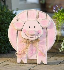 Wooden Pig Standing/Hanging Accent