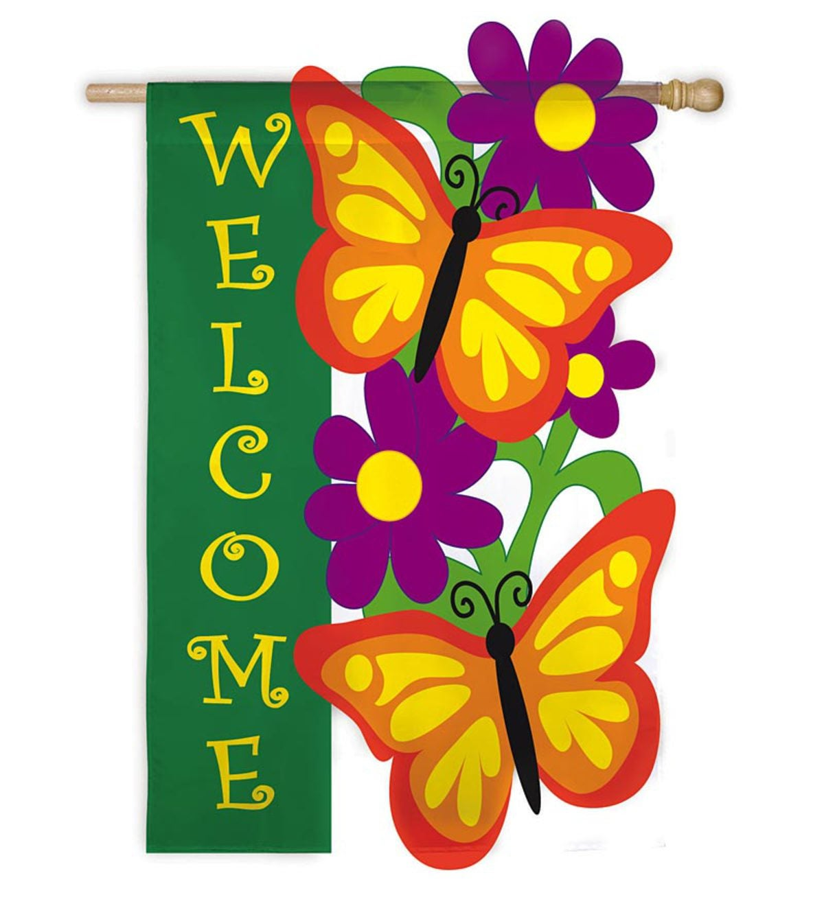 Fade-Resistant Embroidered Appliquéd Butterfly Garden Garden Welcome Flags