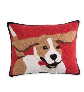 Hooked Wool Beagle Throw Pillow