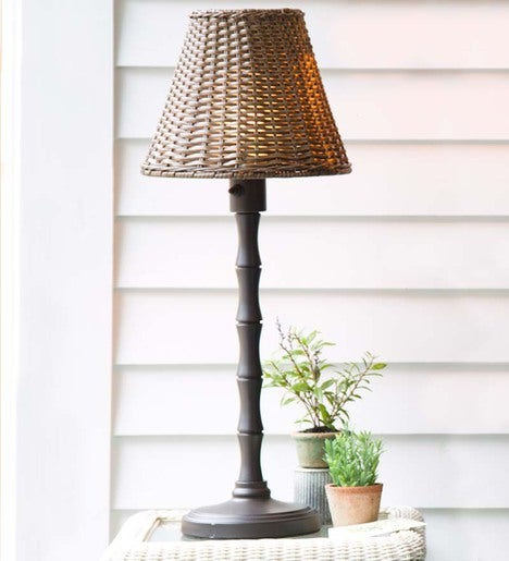 Waterproof Outdoor Wicker Table Lamp