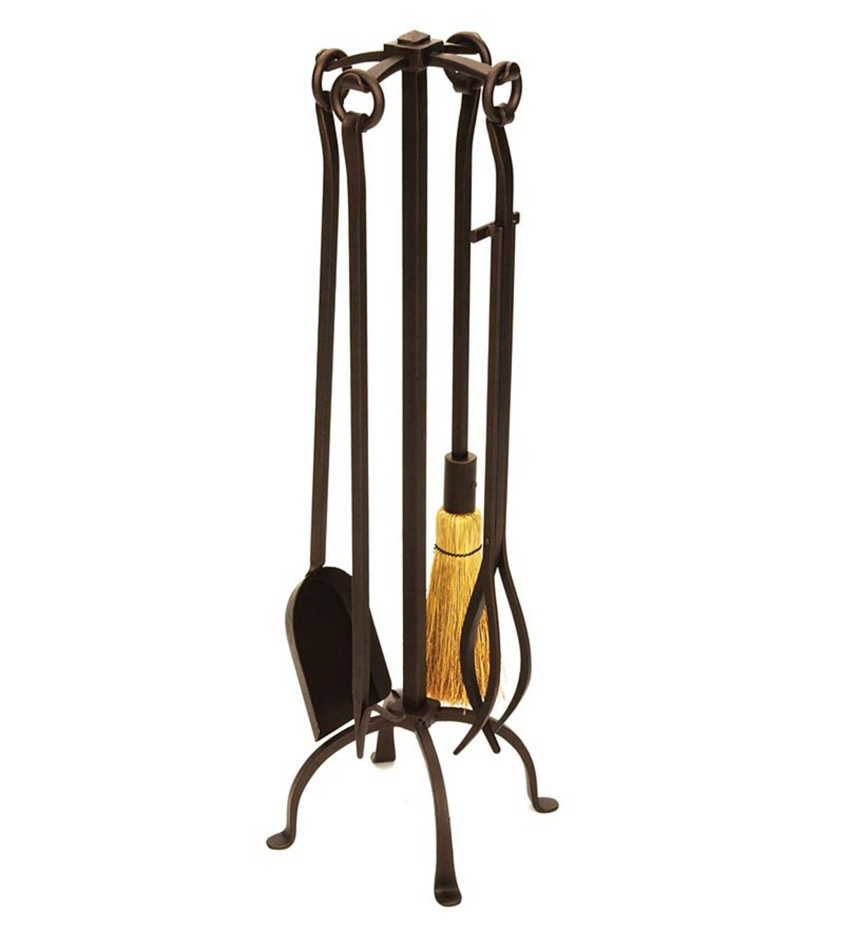 English Country 5-Piece Fireplace Tool Set In Bronze Finish - Bronze