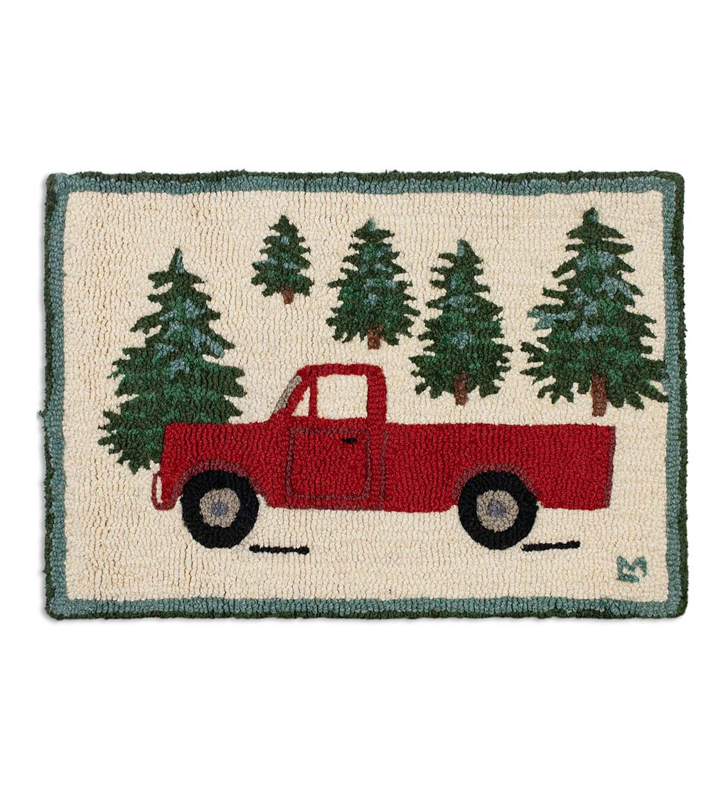 Hooked Wool Red Pickup Truck in Evergreen Forest Accent Rug