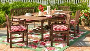 Lancaster Outdoor Furniture Collection, Eucalyptus Wood Extension Table and 6 Chairs