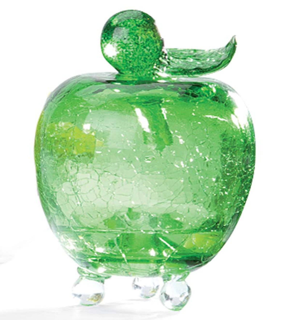 Handmade Crackle Glass Apple Fruit Fly Trap - Green