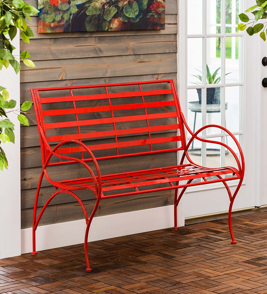 Red Metal Slat-Seat Garden Bench