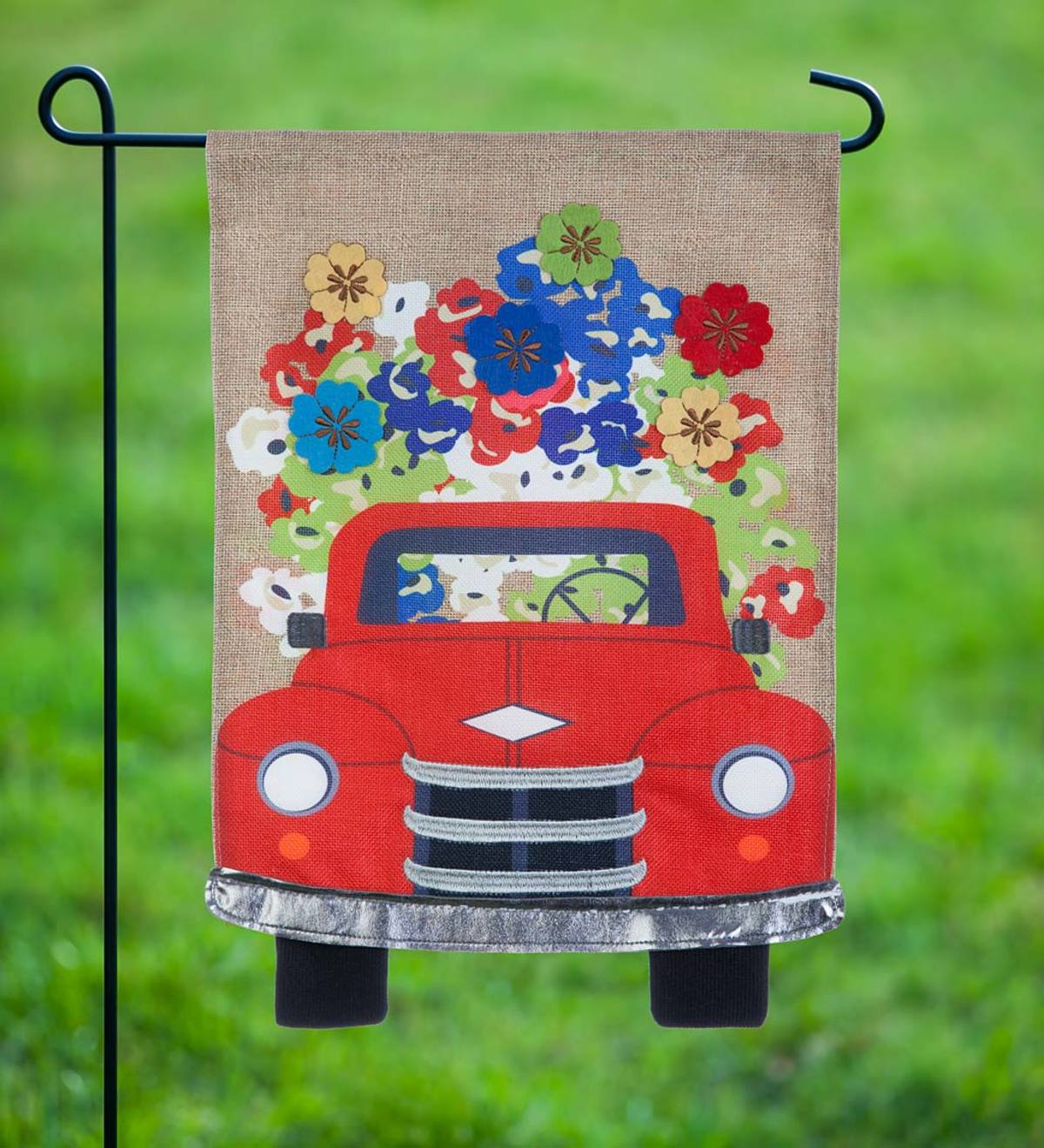 Red Truck With Flowers Burlap Garden Flag