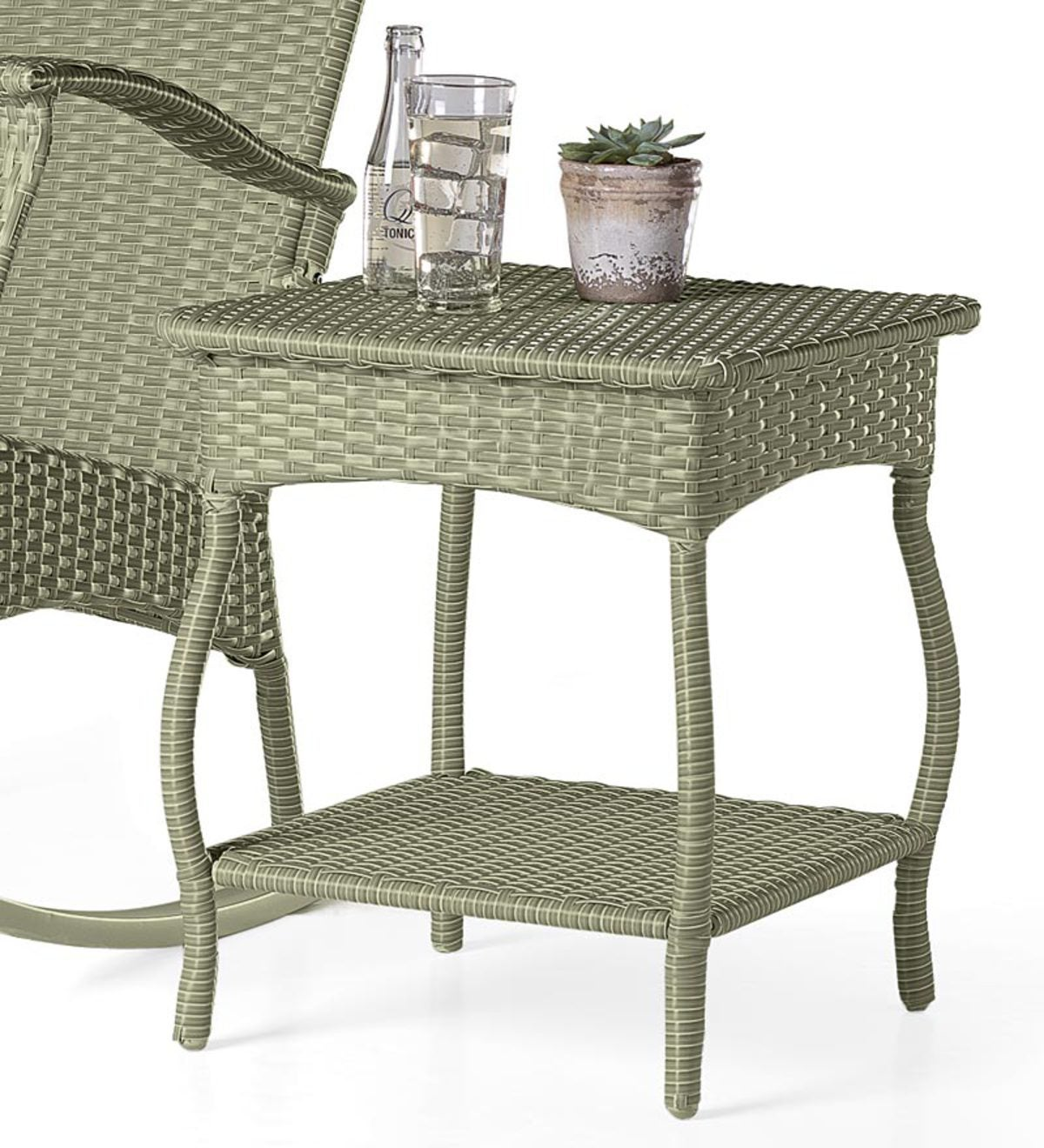 Outdoor Or Indoor Wicker Side Table With Steel Frame Antique White