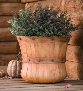 Large Faux Wood Bushel Basket Planter