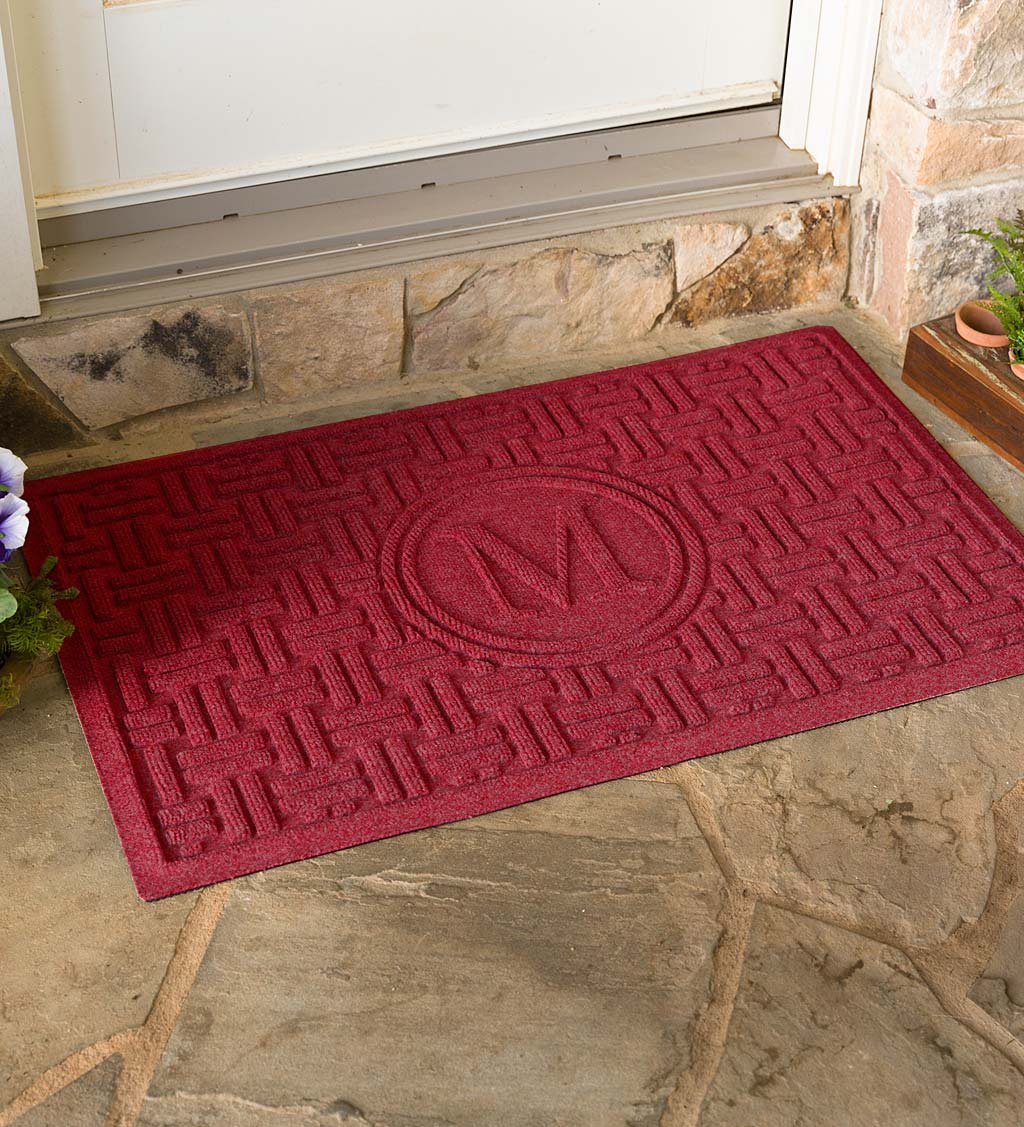 Waterhog Basket Weave Doormat with Single Initial, 2' x 3'