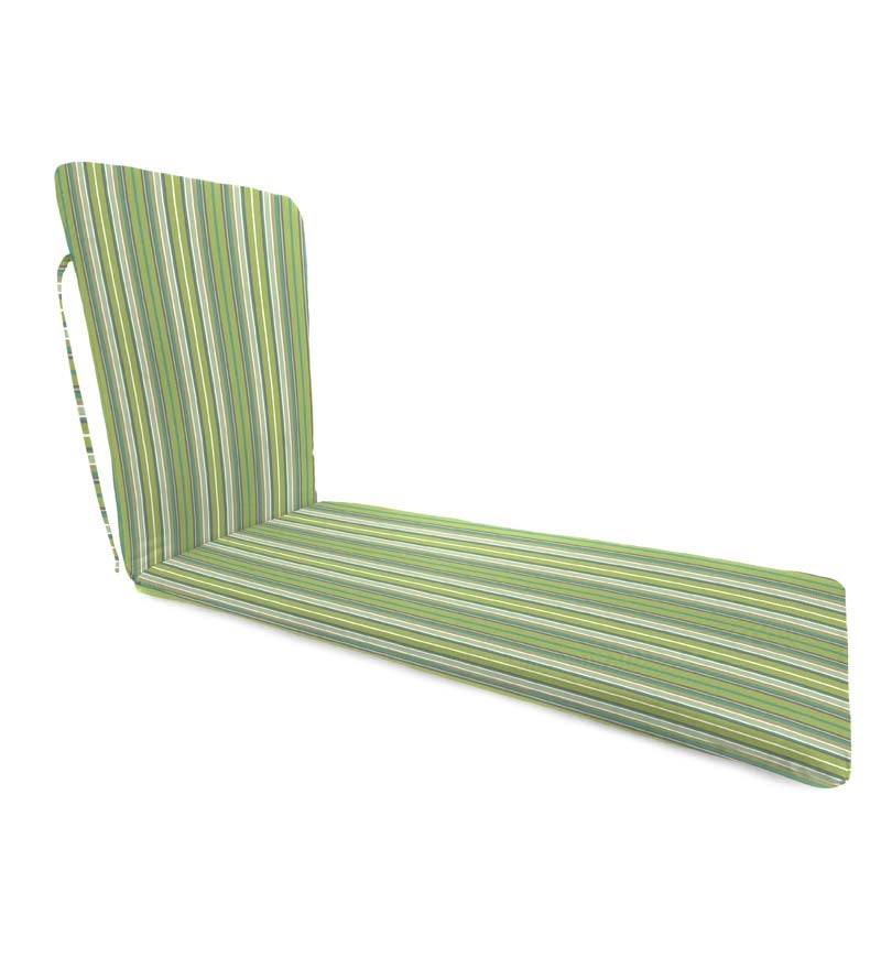 "Sunbrella Classic Chaise Cushion With Ties, 76"" x 23"" x 3"" hinged 47½"" from bottom swatch image"