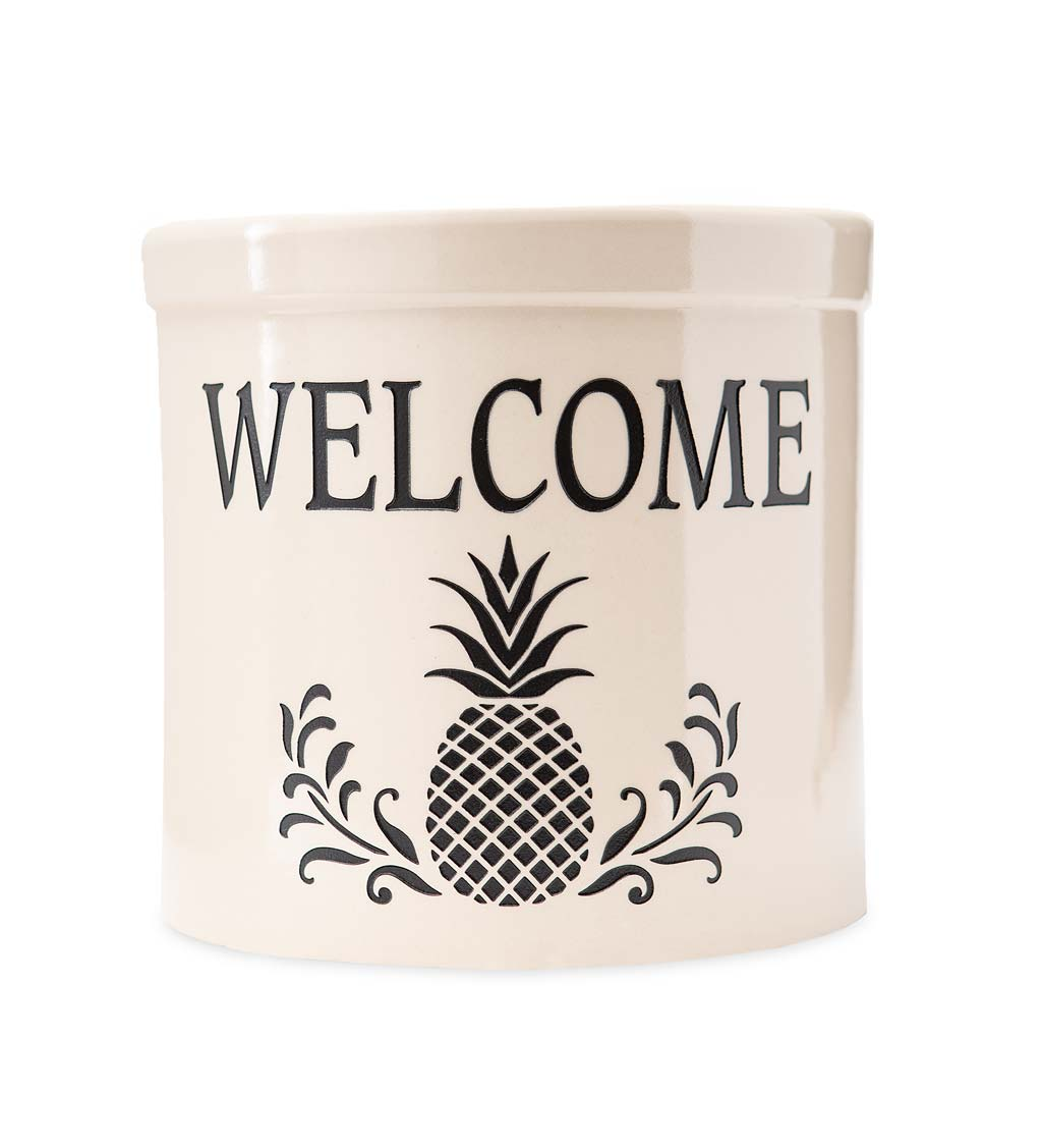 Pineapple Welcome Stoneware Crock swatch image