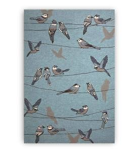 "Birds on a Wire Rug, 7'6""x 9'6"" - Blue"