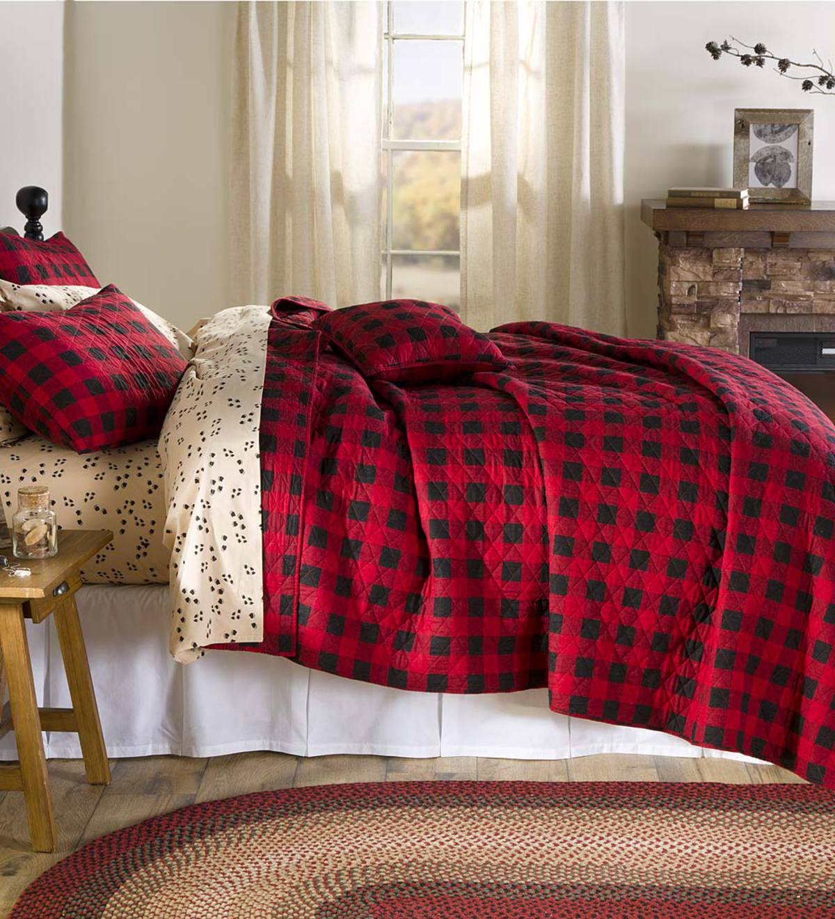 BUFFALO CHECK RED /& BLACK QUEEN BED QUILT By PARK DESIGNS//COUNTRY BEDDING