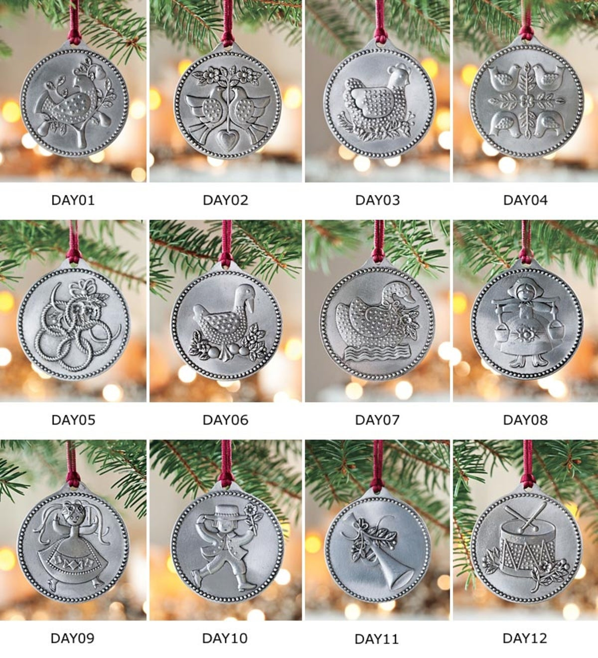 12 days of christmas pewter ornaments set of 12
