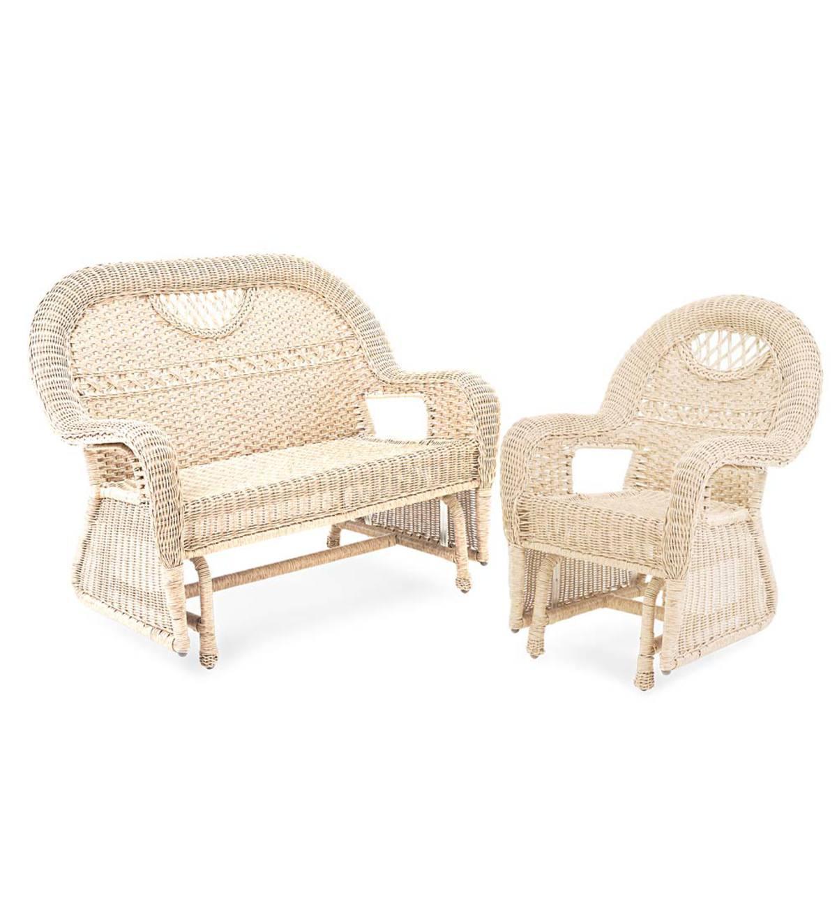Prospect Hill Wicker Love Seat Glider And Chair Glider Set Beach House Walnut Plowhearth