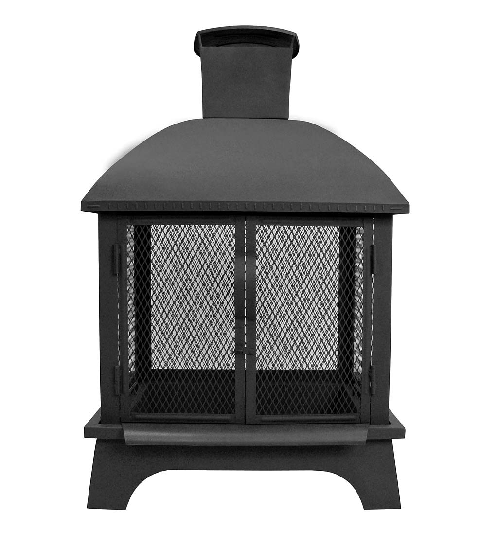 Redford Fireplace-Style Wood-Burning Fire Pit with Chimney