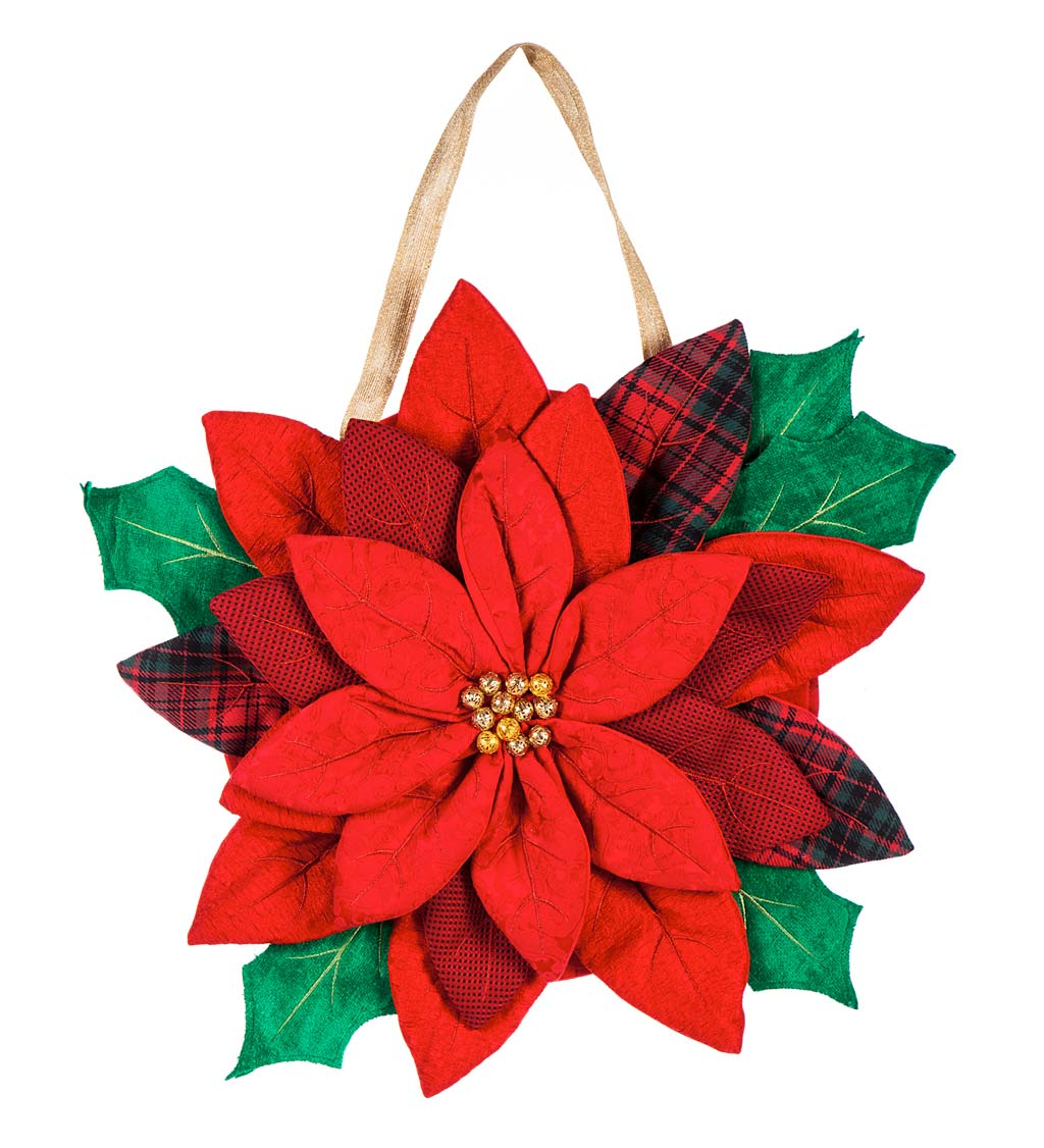 Poinsettia Door Decor Hanging Holiday Accent