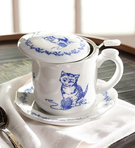 Pretty Kitty Covered Teacup And Saucer Housewares