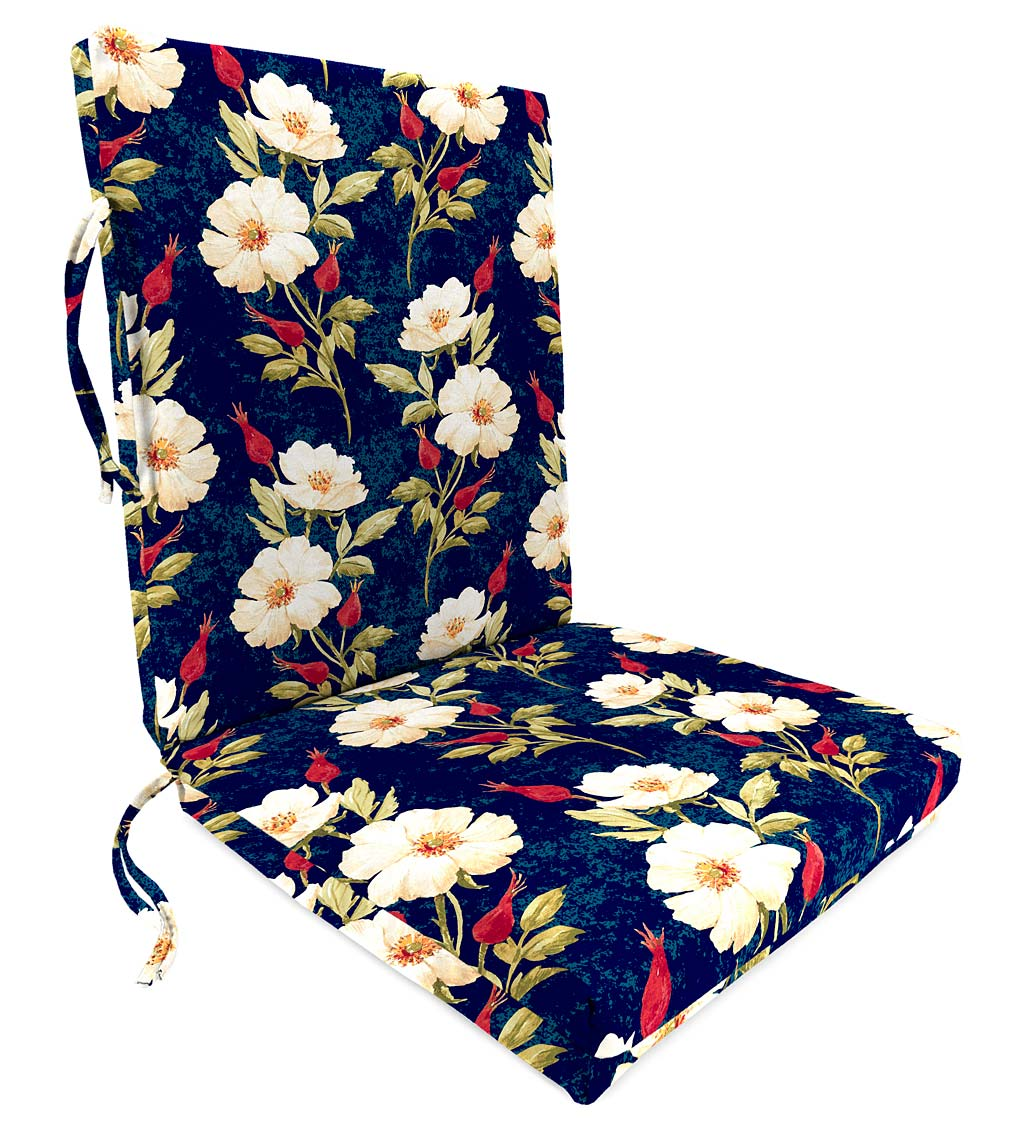"Polyester Classic Large Club Chair Cushion With Ties, 44"" x 22"" with hinge 22"" from bottom swatch image"