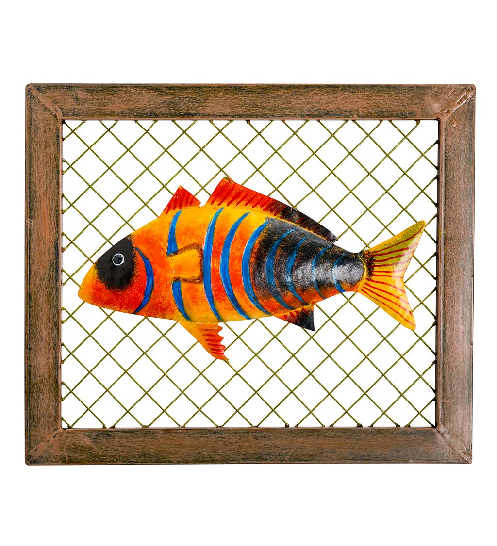 Handcrafted Framed Metal Fish Wall Art