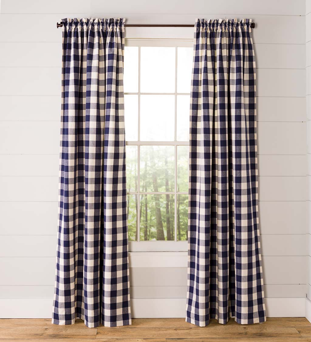 "Buffalo Check Rod-Pocket Cotton Curtains, 96""L Pair"