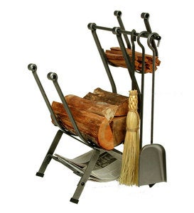 American-Made Hammered Steel Front-Loading Log Rack With Set Of 3 Tools