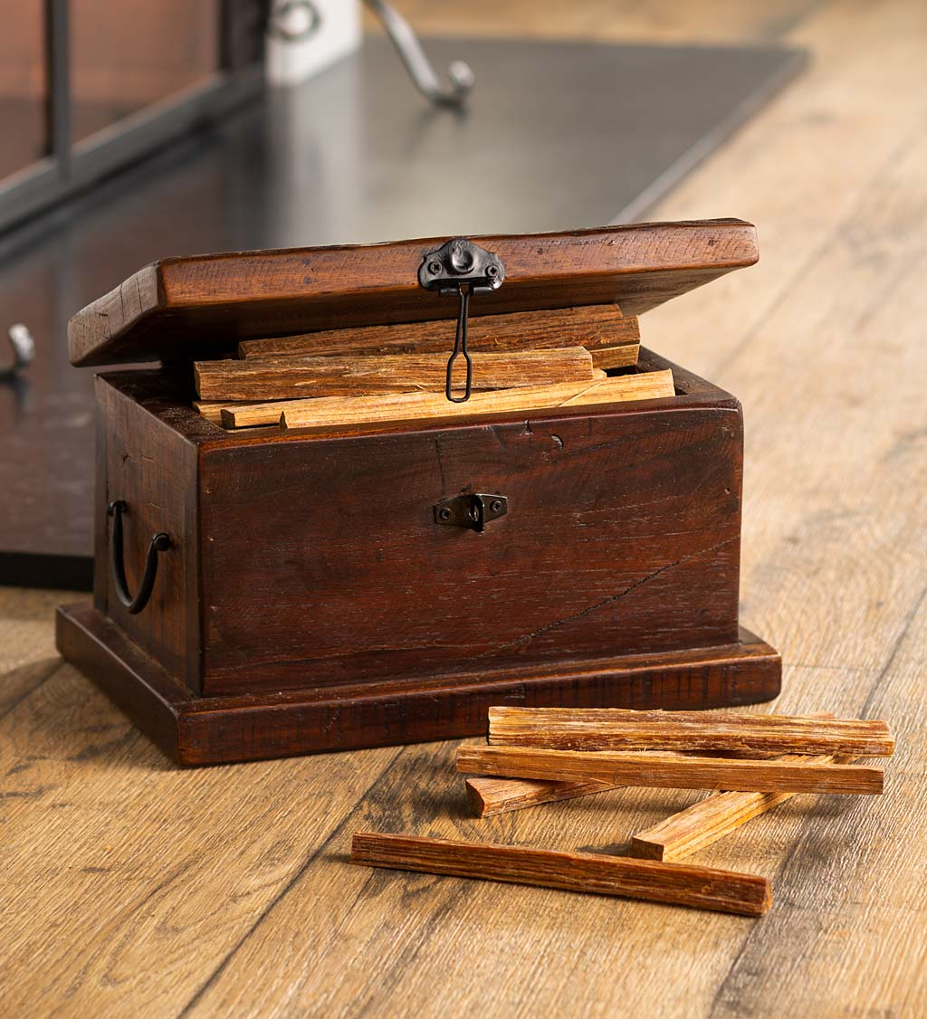 Birmingham Reclaimed Wood Hearth Storage Box with 5 lbs. Fatwood