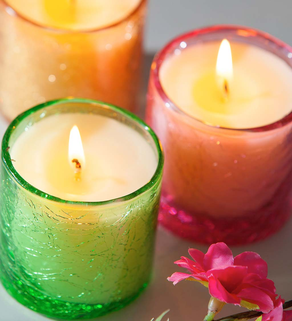 Colored Crackle Glass Candle Gift Set, Set of 3