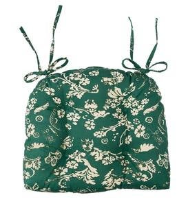 Reversible Floral Damask Tufted Cotton Chair Pad with Ties