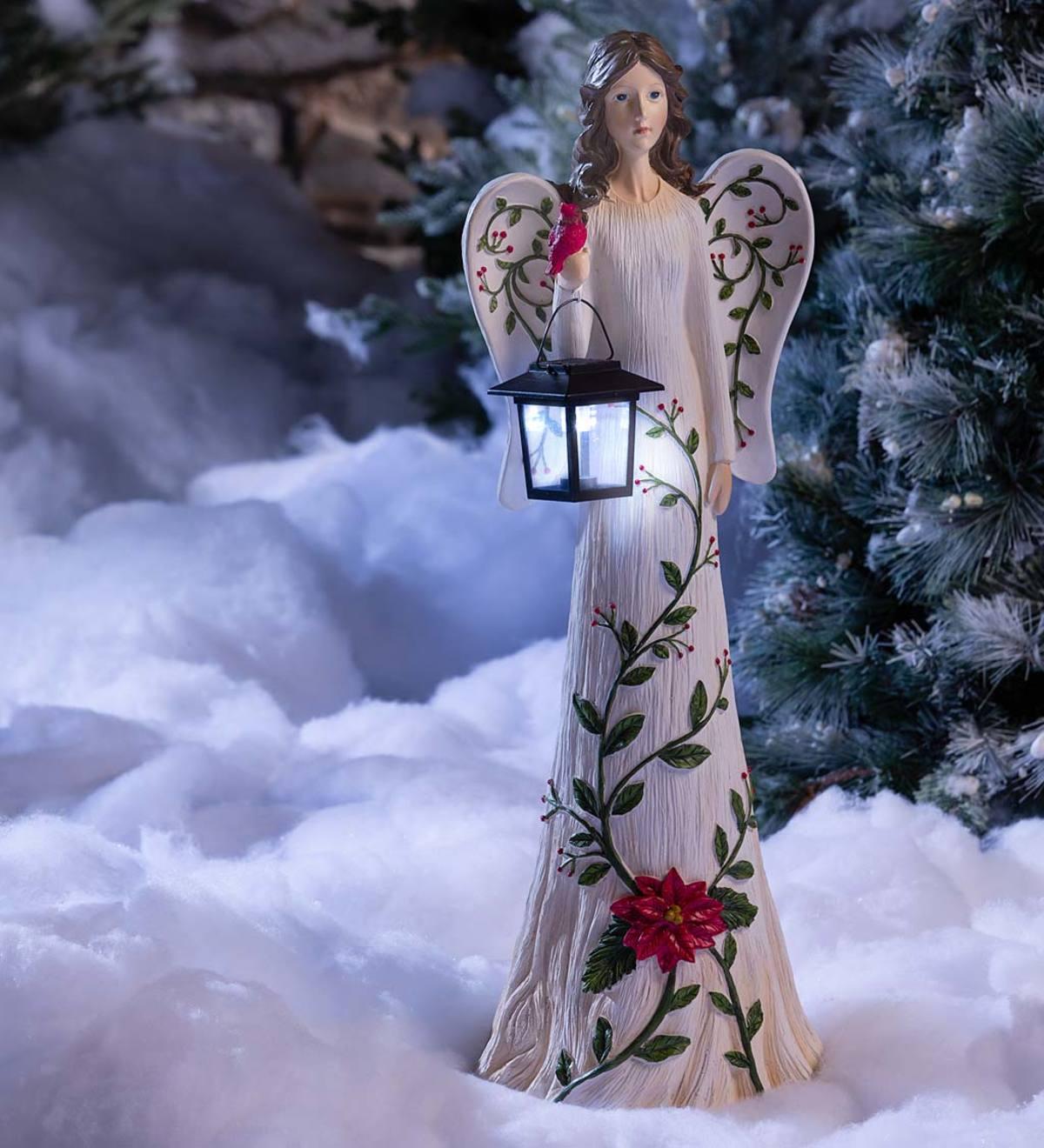 Angel Garden Statue With Solar Lantern Plowhearth