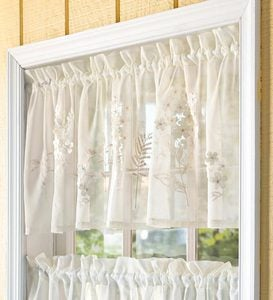 Embroidered Hydrangea Sheer Swag - Cream
