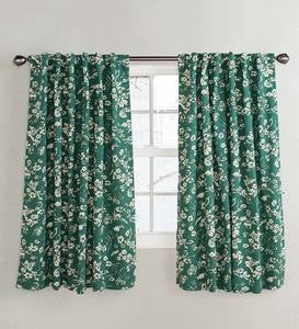 Homespun Insulated Floral Damask Short Panel with Rod Pocket