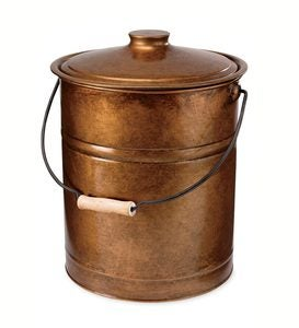 Deluxe Galvanized Ash Bucket with Handle, Lid and Double-Layer Bottom - Copper