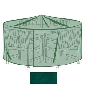 "92""dia x 33""H Outdoor Furniture All-Weather Cover for X-Large Round Table&Chairs - Green"
