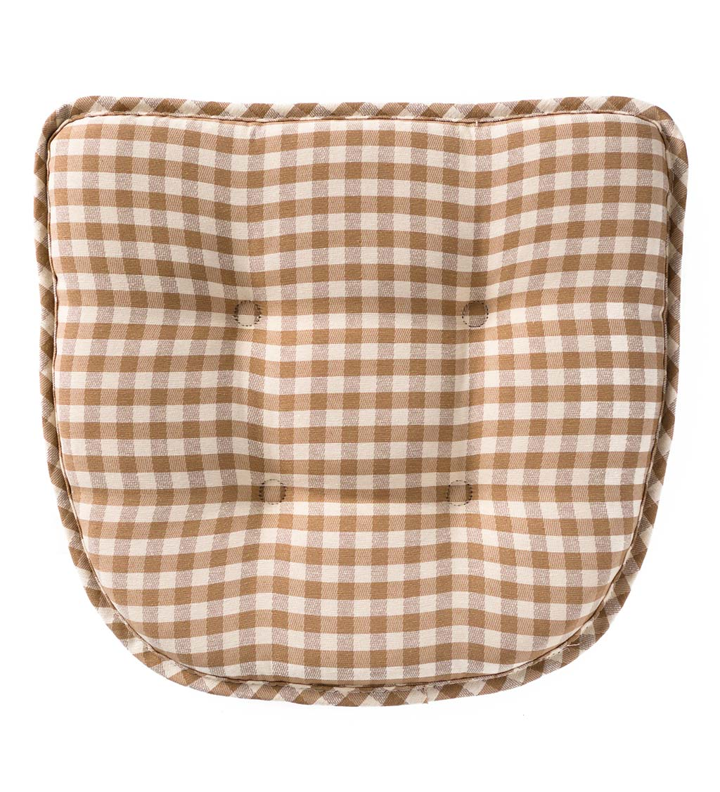 Non-Slip Gingham Chair Pad