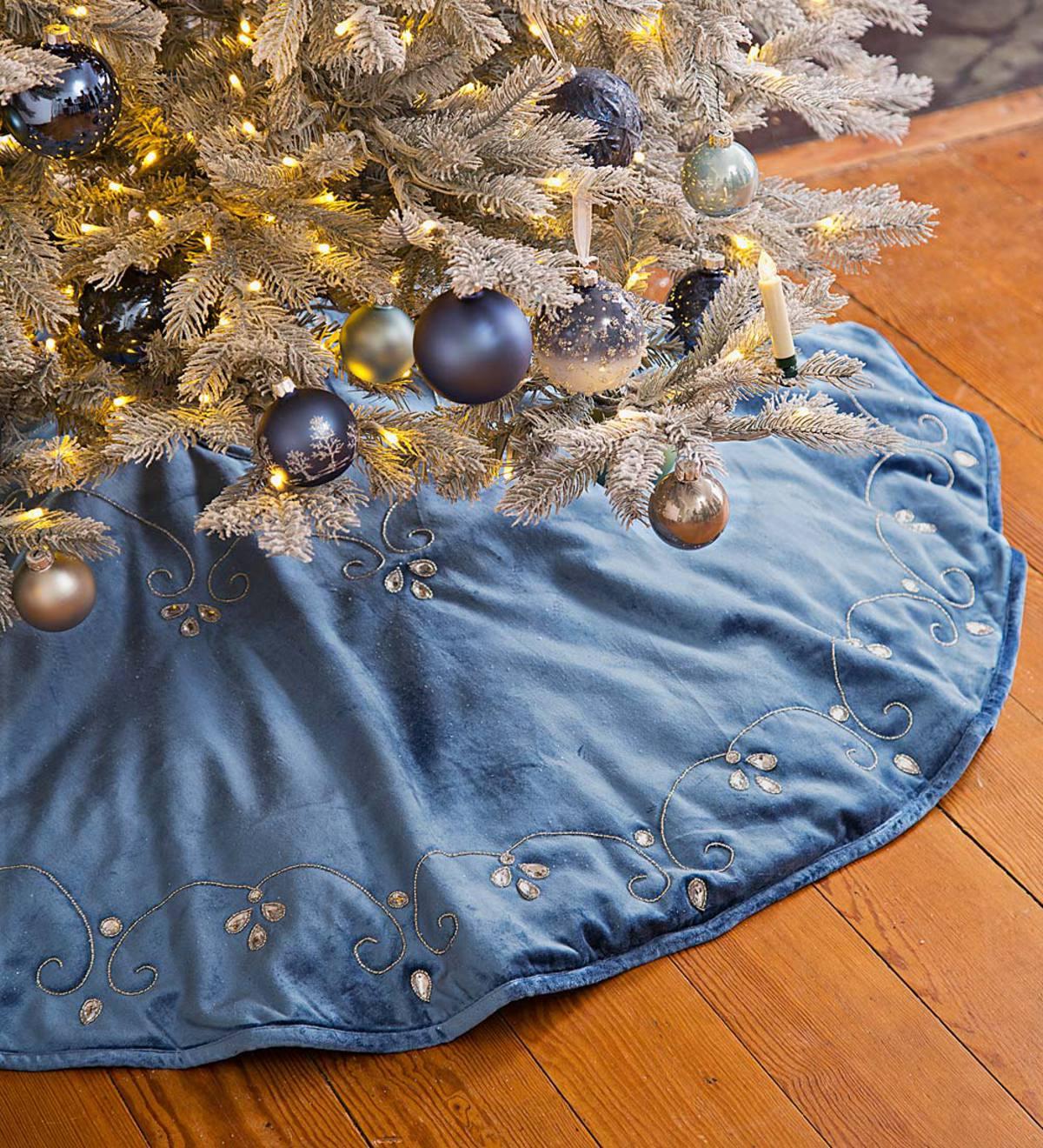 Blue Velvet Christmas Tree Skirt Plowhearth